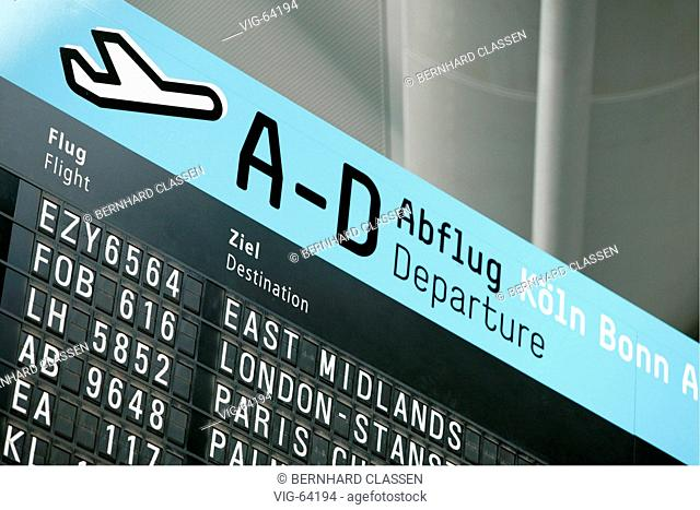 Board showing besides others the departure data of the airline easyJet, which offers flights from the Konrad-Adenauer airport Cologne-Bonn since 09/06/04 (to...