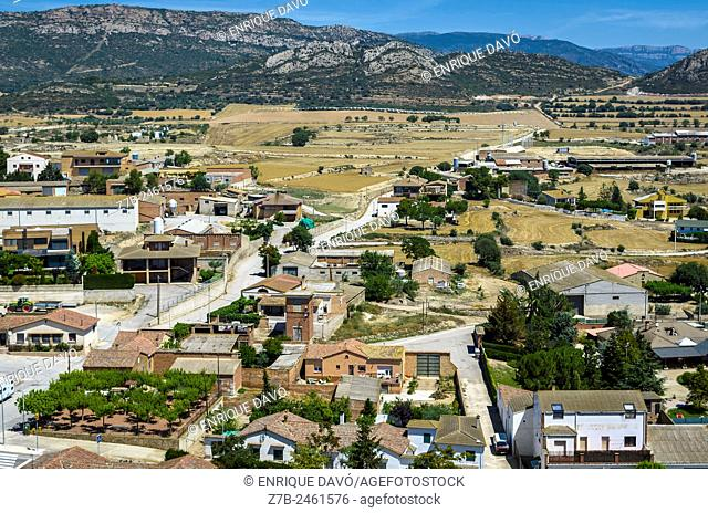High view of Cubells town, Lerida province, Catalonia, Spain