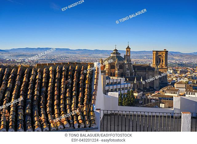 Granada skyline and Cathedral from Albaicin in Andalusia Spain