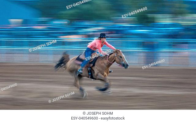JULY 22, 2017 NORWOOD COLORADO - Cowgirl rides fast for best time during San Miguel Basin Rodeo, San Miguel County Fairgrounds