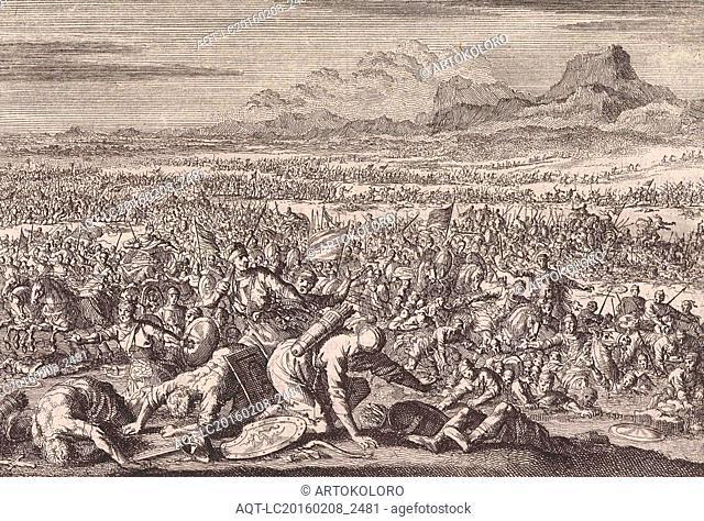Armies of Sodom and Gomorrah defeated, Jan Luyken, Pieter Mortier, 1703 - 1762