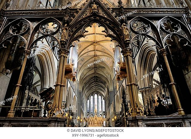 Worcester Cathedral, England. Looking east through the Rood screen and Choir to the High Altar