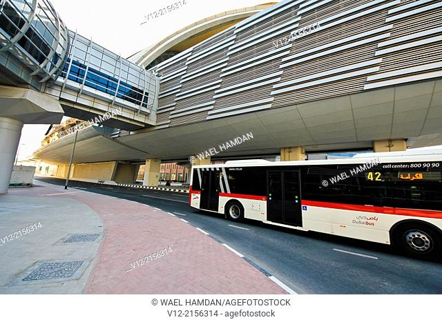 View of Metro Station, Dubai, United Arab Emirates, Middle East and Public Transport