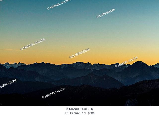 View from mountain Branderschrofen into Ammergau Alps at sunset, Hohenschwangau, Bavaria, Germany