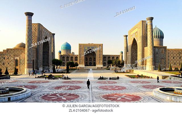 The three madrasas of the Registan. Uzbekistan, Samarkand