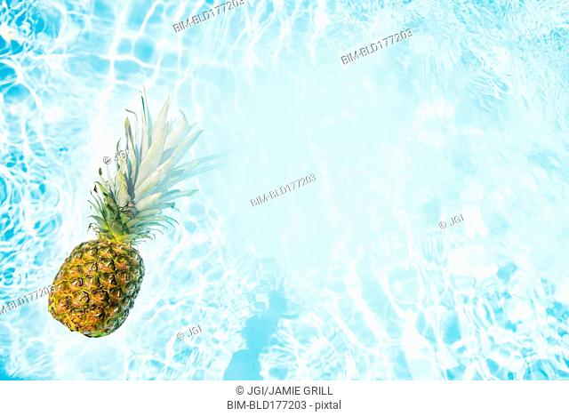 Pineapple floating in swimming pool