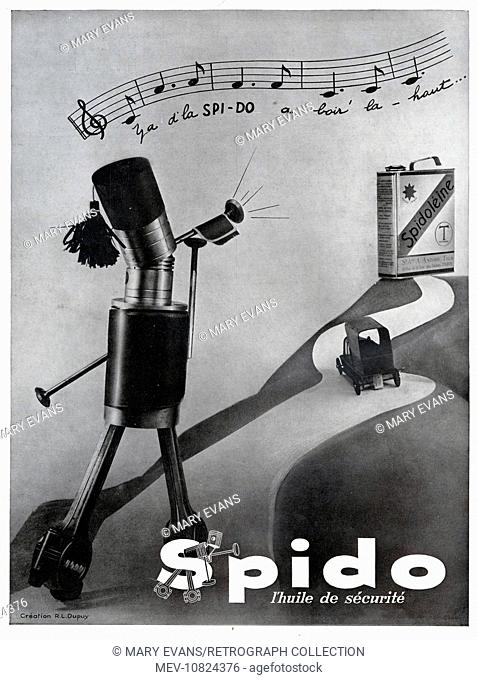 Art Deco Magazine Advertisement for Spido (Spidoleine) car oil, showing humanised engine parts playing a bugle call, with the music notated above