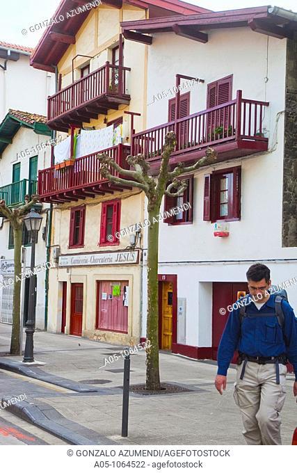 Calle Santiago. Irun. Comarca Bidasoa.Guipuzcoa. Basque Country. Spain