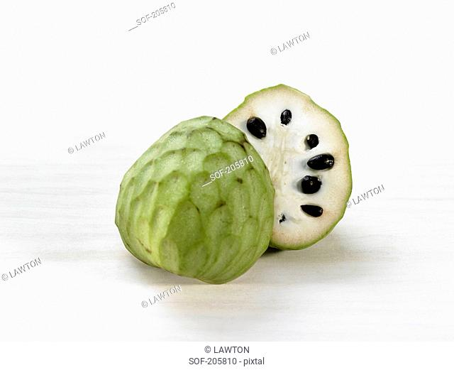 Cherimoya on a white background