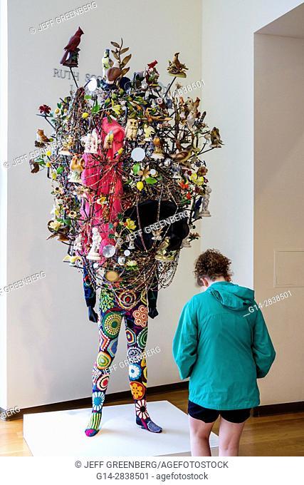 Florida, Orlando, Orlando Museum of Art, OMA, museum, contemporary art, exhibit, sculpture, Soundsuit 2011, Nick Cave, found objects, crochet body suit, teen