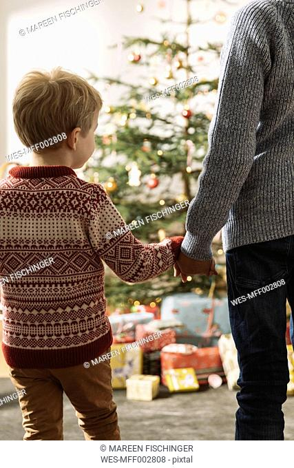 Two brothers waiting in front of Christmas tree looking at presents