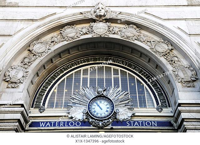 Waterloo Station Entrance Detail, London, England, UK