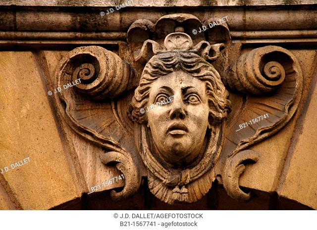 One of the famed 'mascaron' on a building at Bordeaux, Gironde, Aquitaine, France