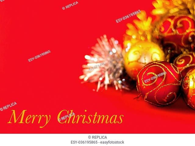 Christmas decoration, red gold and silver, on red background