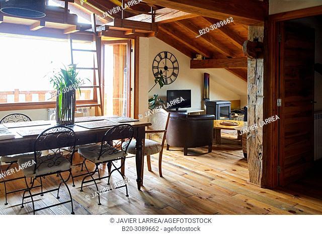 Living room, Rural apartment, Deba, Gipuzkoa, Basque Country, Spain, Europe
