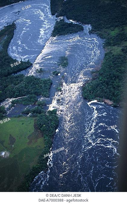 Venezuela - Bolivar State - Canaima National Park (Parque Nacional Canaima, UNESCO World Heritage List, 1994). Aerial view of a river