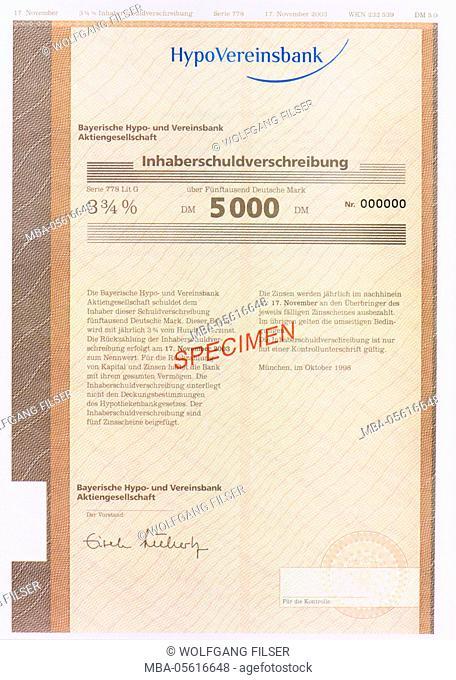 Bearer bond of the Hypovereinsbank