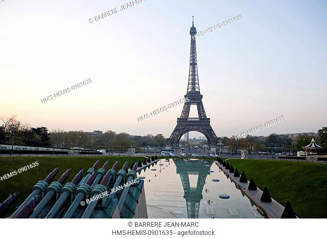 France, Paris, area listed as World Heritage by UNESCO, the gardens of the Trocadero and the Eiffel Tower