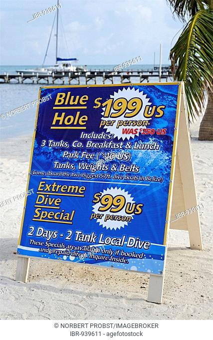 Sign offering scuba diving specials in San Pedro, Ambergris Cay Island, Belize, Central America, Caribbean