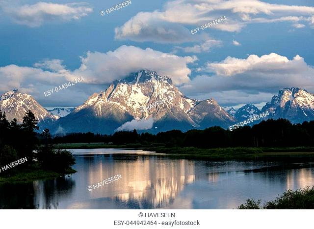 Grand Teton Mountains from Oxbow Bend on the Snake River at morning. Grand Teton National Park, Wyoming, USA