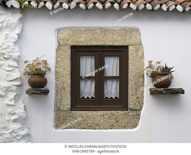 Traditional window in Marvao Street. Castelo da Vide. Alentejo. Portugal