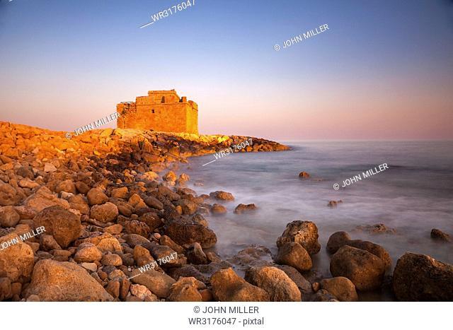Paphos Castle with rocky shoreline, Paphos harbour, Cyprus, Mediterranean, Europe