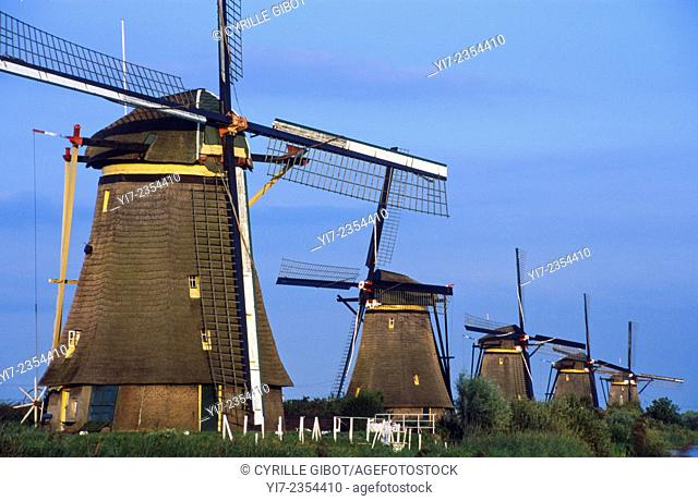 Row of windmills at Kinderdijk, a World Heritage Site in the Netherlands