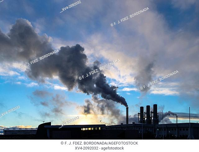 Power plant smoke in Reyjanesta geothermal area, Southern Iceland