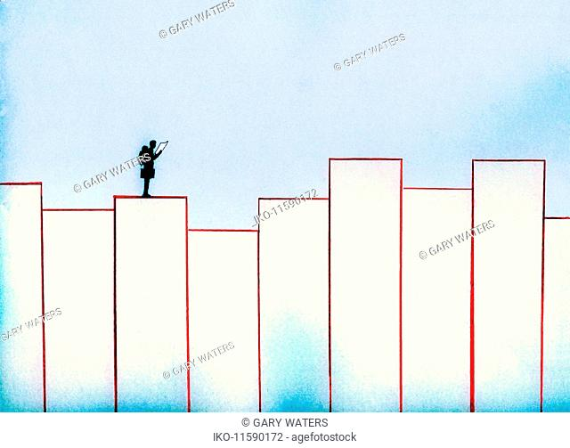 Man with backpack and briefcase on top of bar graph reading map
