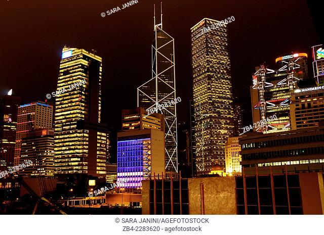 Central district at night (Bank of China, Citibank, Legislative Council, HSBC Bank), Hong Kong Island, Hong Kong, China, East Asia