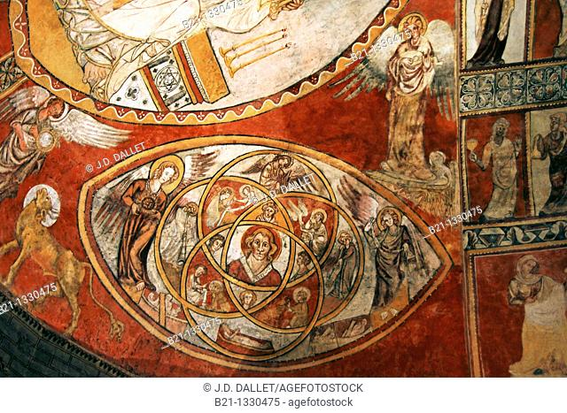 France, Aquitaine, Gironde, church of Saint Sauveur, at the Village of Saint Macaire Wall painting in the ceiling, representing the 'Legenda aurea' life of...