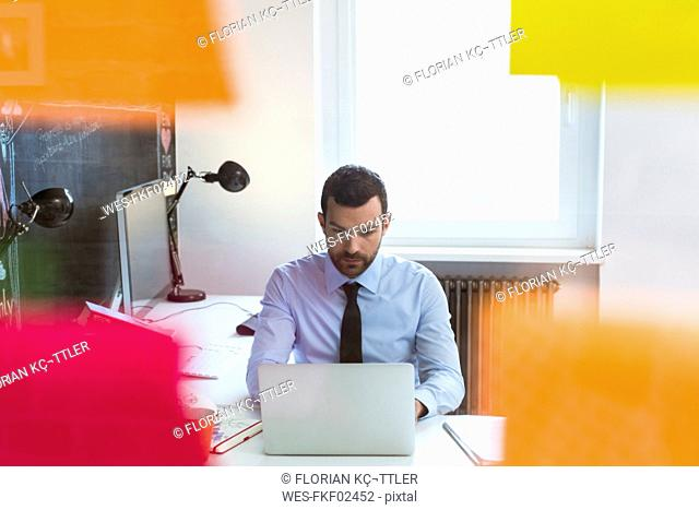 Businessman in office using laptop at desk