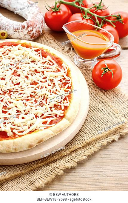 Italian cuisine: pizza margherita. Traditional dish