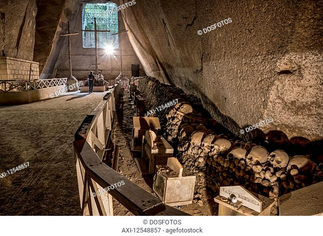 Fontanelle cemetery, a charnel house where thousands of anonymous corpses are kept; Naples, Italy