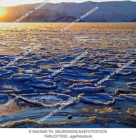 Sunset over Skjalfandafloi bay with pancake ice formations, Husavik, Iceland
