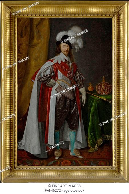 Portrait of King Charles I of England (1600-1649), in the robes of the Order of the Garter by Anonymous /Oil on canvas/Baroque/Mid of 17th cen