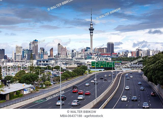New Zealand, North Island, Auckland, skyline from Northern Motorway