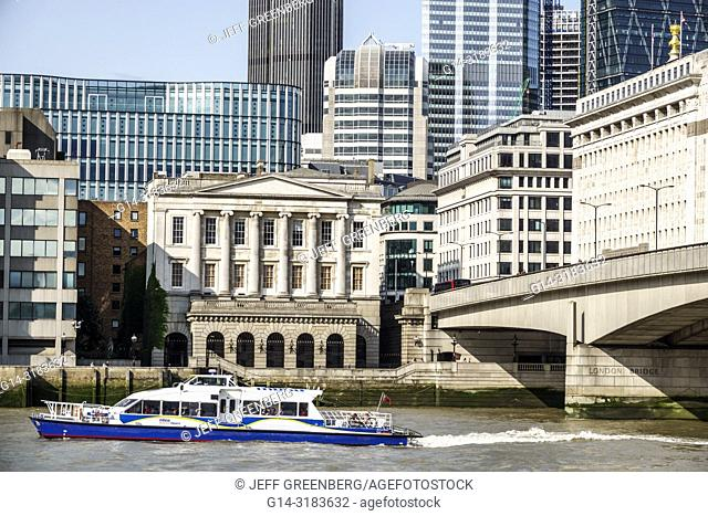 England, London, Thames River, London Bridge, city skyline, water, sightseeing boat, Fishmongers' Hall, livery company, guild, historic building, Grade II