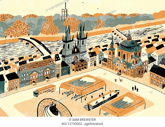 Illustration of Old Town Square and Prague landmarks