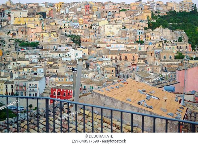 Rooftops and colorful buildings of Ragusa Sicily in Italy