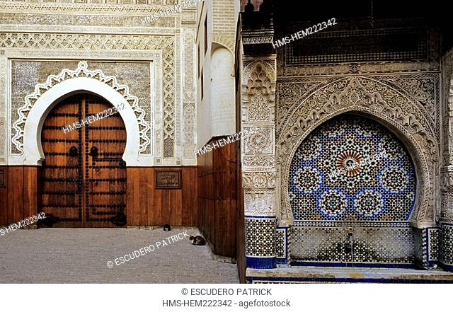 Morocco, Middle Atlas, Fes, Imperial City, Fes el Bali District, medina listed as World Heritage by UNESCO, Place Nejjarine and Wood Art and Trades Museum in...