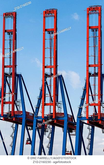 Container ship cranes Malaga Harbour Spain