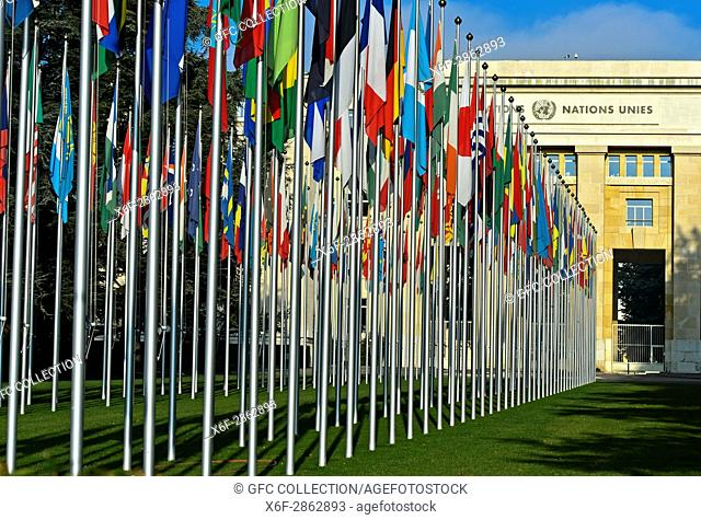 Court of flags at the United Nations Office at Geneva, UNO, Palais des Nations, Geneva, Switzerland
