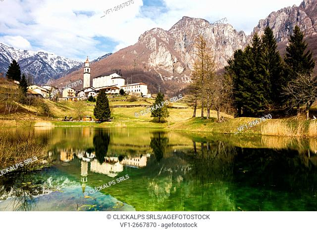 Laghi, Province of Vicenza, Veneto, Italy. Small Church above alpine lake