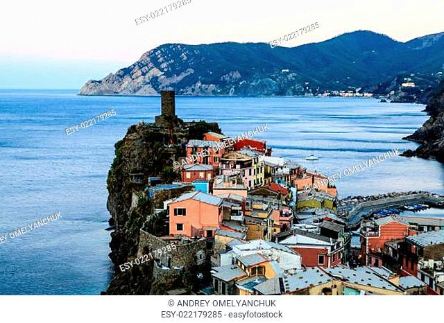 The Medieval Castle in the Village of Vernazza, Cinque Terre, It