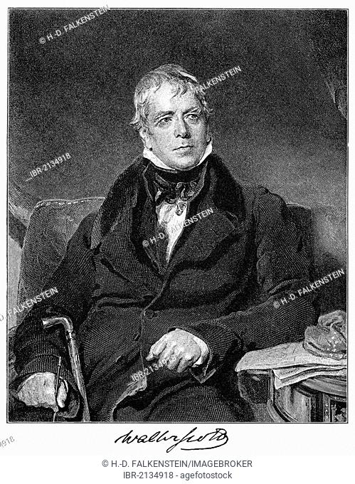 Historical engraving from the 19th Century, portrait of Sir Walter Scott, 1st Baronet of Abbotsford, 1771-1832, Scottish poet and writer