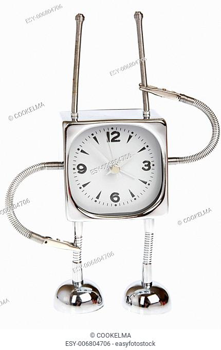 Metal alarm-clock on a white background.