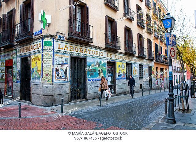 Facade of the old chemist's Juanse. Madrid, Spain