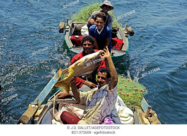 Fishermen. Nile River, between Esna and Aswan, Egypt