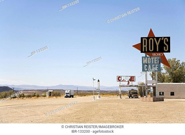 The legedary, now abandoned, Roy's Motel Café at the historical Route 66, Amoby, California, USA